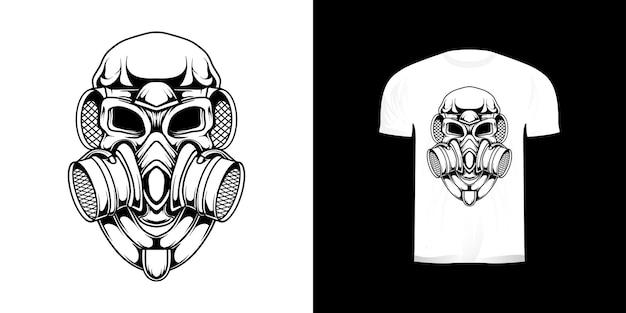 Линия арт череп противогаз ретро иллюстрация для футболки