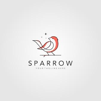 ラインアートスズメの鳥のロゴのベクトルイラストデザイン、ミニマリストの鳥のアイコンシンボル