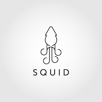 Line art squid logo, squid logo. isolated squid vector illustration