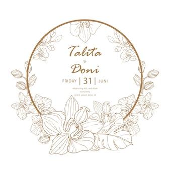 ラインアートスタイルの茶色と白の結婚式の招待カード