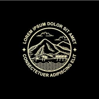 Line art style mountain logo design