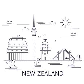 Стиль штрихового рисунка, достопримечательности новой зеландии