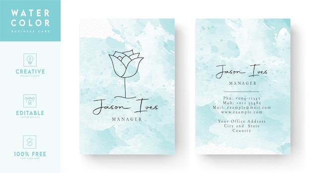 ラインアートスタイルのバラと水彩の背景名刺テンプレートデザイン