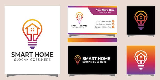 Line art style smart home electric logo design with identity card design