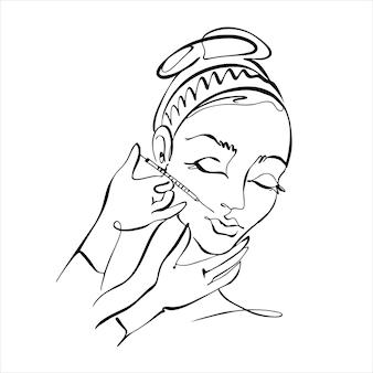 Штриховая графика. лицо девушки нарисовано одной линией. уколы красоты. косметология логотип. салон красоты. вектор