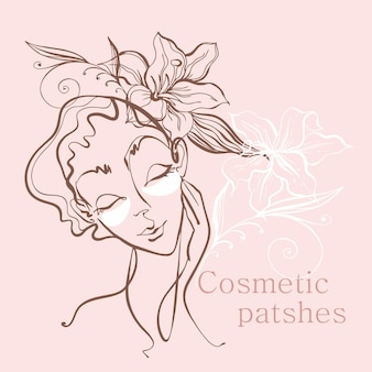 線画。少女の顔は一本の線で描かれています。顔のパッチ。美容ロゴ。ビューティーサロン。ベクター