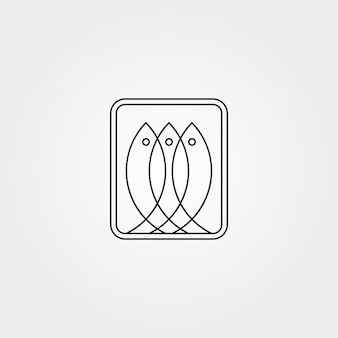 Line art three fish abstract logo vector symbol illustration design
