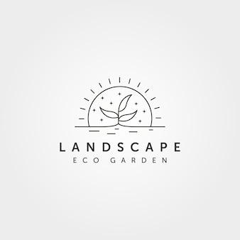Линия искусства дерево пейзаж логотип вектор с закатом креативный дизайн иллюстрации, стиль линии арт