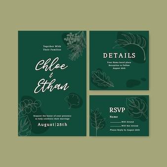 Line art тропический цветок на свадьбу пригласительный билет