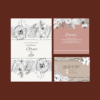 Line art tropical flower for  wedding invitation card