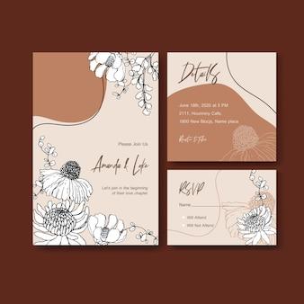 Line art fiore tropicale per la carta di invito di nozze
