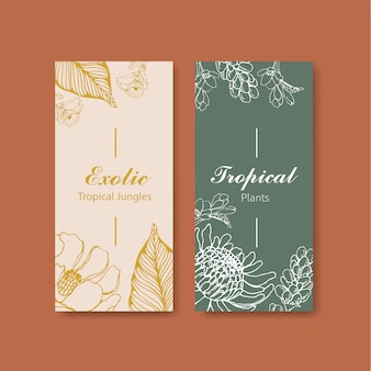 Line art tropical flyer design