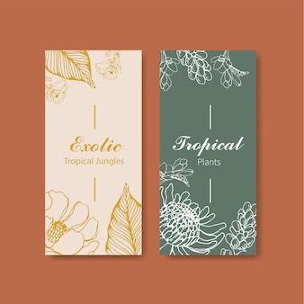 Line art design tropicale flyer