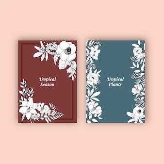 花と葉を持つラインアートトロピカルフレームデザイン手描きイラスト。