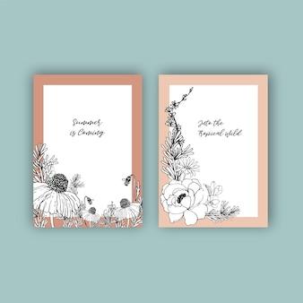 꽃과 나뭇잎 손으로 그린 그림 라인 아트 열 대 프레임 디자인.