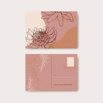 花と葉の手描きイラストとラインアートトロピカルポストカードデザイン。