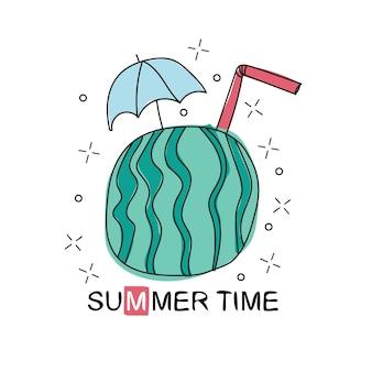 라인 아트 벡터 손으로 그린 낙서 만화 여름 시즌 개체 및 기호 세트 - 티셔츠 및 인쇄용 디자인