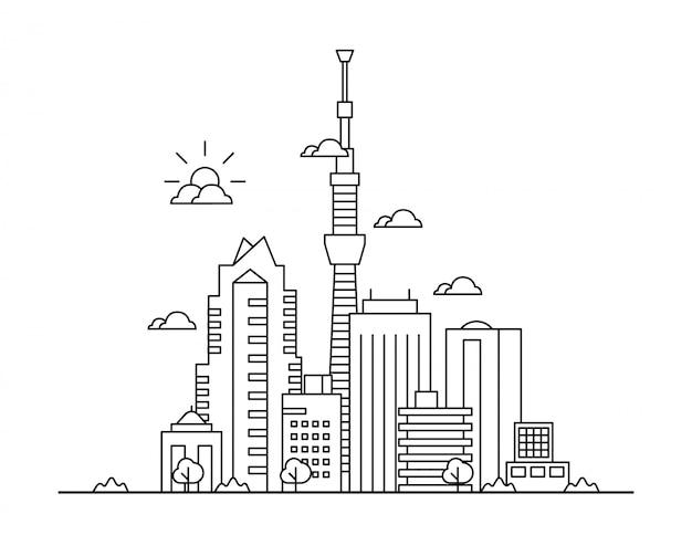 Line art vector illustration of big city