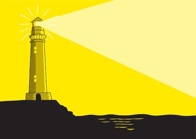 Line art vector illustration of a lighthouse