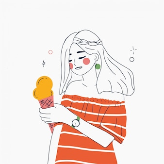 Line art vector illustration of young woman with ice cream