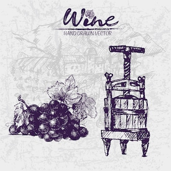 Line art vintage purple wooden wine barrels and grape illustration