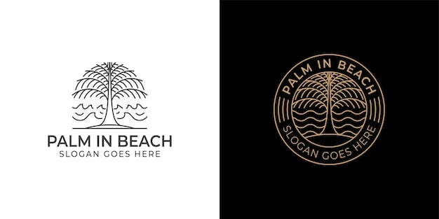Line art vintage retro badge logo of beach palm tree for vacation, summer, symbol with two versions