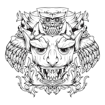 Line art of winged devils and death owls floral ornamental