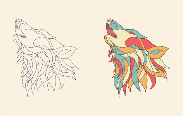 Line art wolf illustration