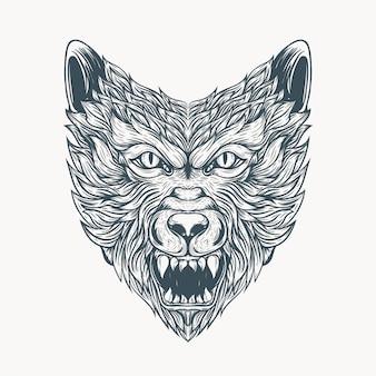라인 아트 늑대 문신