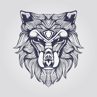 Line art of wolf with decorative face