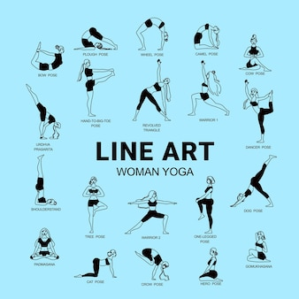 Line art woman yoga composition with editable text and set of isolated female figures with captions