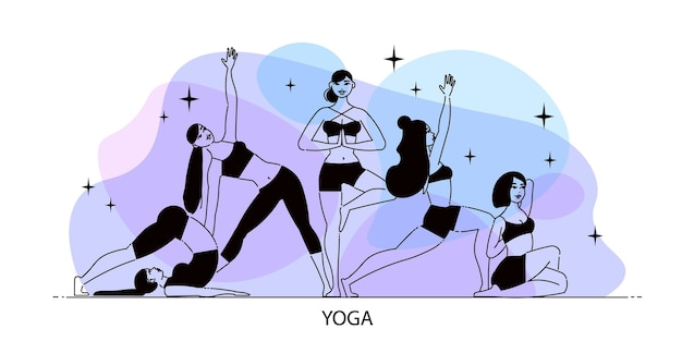 Line art woman yoga composition with elements of stars and female figures on gradient