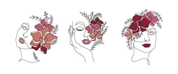 Штриховые рисунки женщин сталкиваются с цветными цветами, непрерывные штриховые рисунки в минималистичном стиле