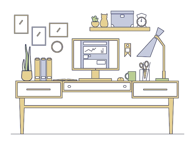 Line art workplace in flat style.