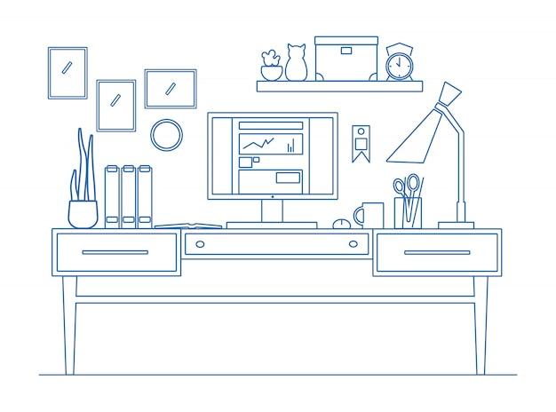 Линия искусства на рабочем месте в плоском стиле. иллюстрация современного рабочего творческого пространства.