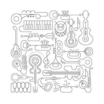 Музыкальные инструменты line art
