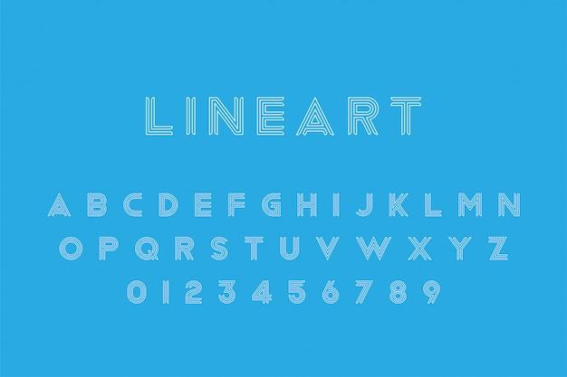 Line art оригинальный шрифт буквы алфавита и цифры