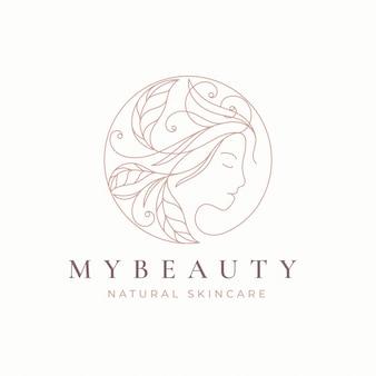Line art цветочный дизайн логотипа женщин