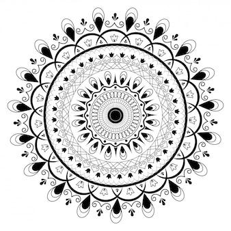 Симметричный дизайн мандалы в line art.