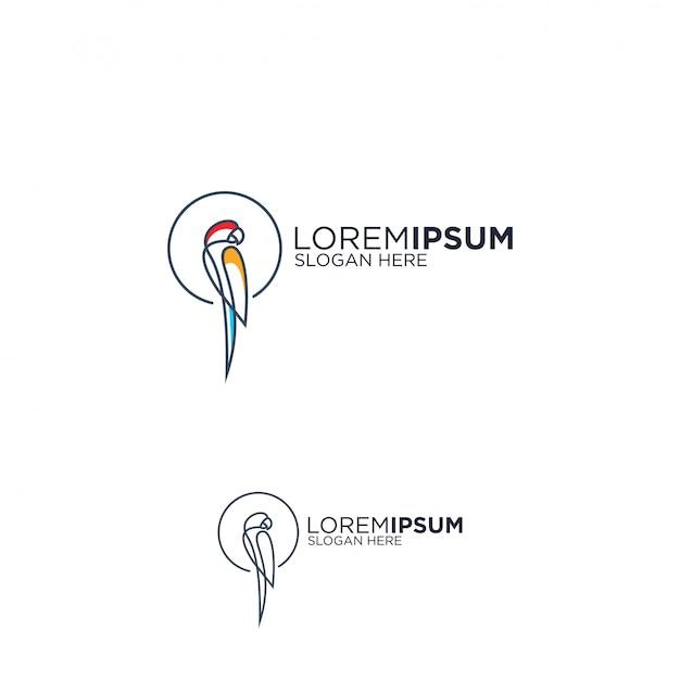Line art попугай дизайн логотипа