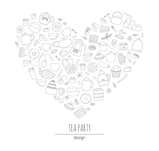 Иллюстрация черно-белые чайники, пироги, сладости, пирожные в форме сердца. line art чайный сервиз. чай тематическая концепция. рама с чайниками и кухонным оборудованием