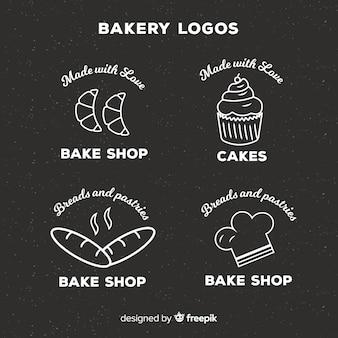 Line art пекарня логотипы