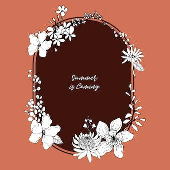 Цветочный венок с тропической иллюстрацией line art романтическая рамка