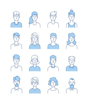 Line avatars. happy people icons user flat outline male female avatar anonymous faces man woman cute guy internet profile  set