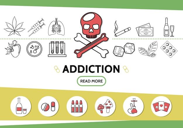 Набор иконок линии вредных привычек с черепом, марихуаной, табачными листьями, шприцами, сигаретами, деньгами, игральными костями, наркотиками