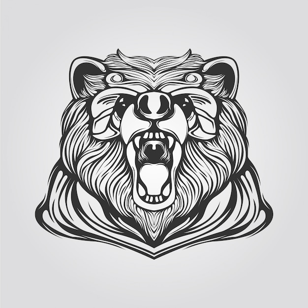 Line of bear in black and white color
