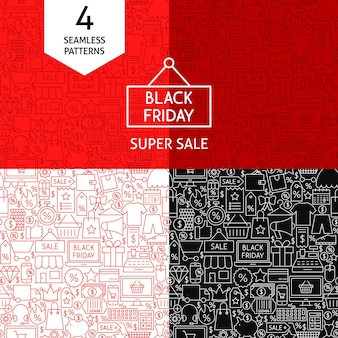 Line black friday patterns. four vector sale backgrounds.