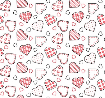 Line black, white and red seamless pattern for Saint Valentine's day, love, date theme.