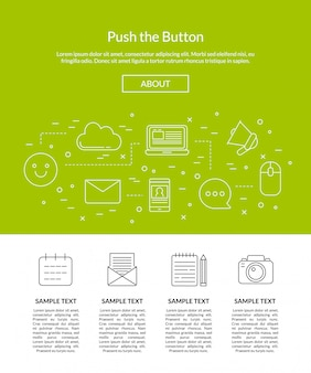 Line blog icons landing page template illustration