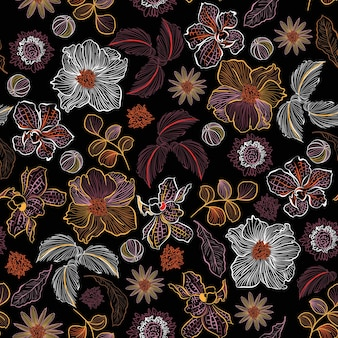 많은 종류의 꽃에 선 개화 손으로 그린 스케치 식물 식물 원활한 패턴